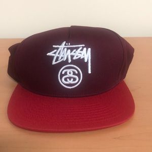 Stussy Accessories - NWT Stussy Burgundy Red Logo Men's Snapback Hat